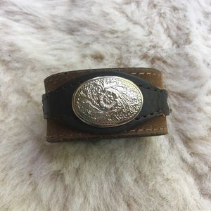 Silver and Leather cuff bracelet